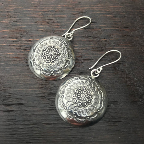 'Karen Hill Tribe' Circular Domed Tribal Etched  Design Sterling Silver Earrings