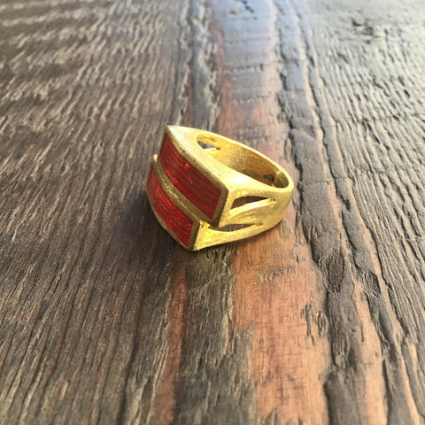 'Brass-Works' Handmade Red Enamel Rectangular Stacked Ring