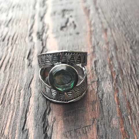Mexica Sterling Silver & Abalone Shell Ring