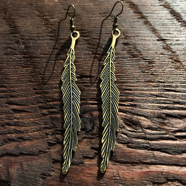 'Just Brass' Long Thin Leaf Design Drop Earrings