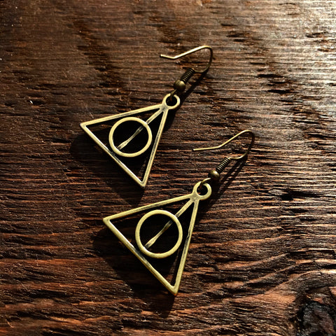 'Just Brass' Small Triangle Geometry Design Drop Earrings