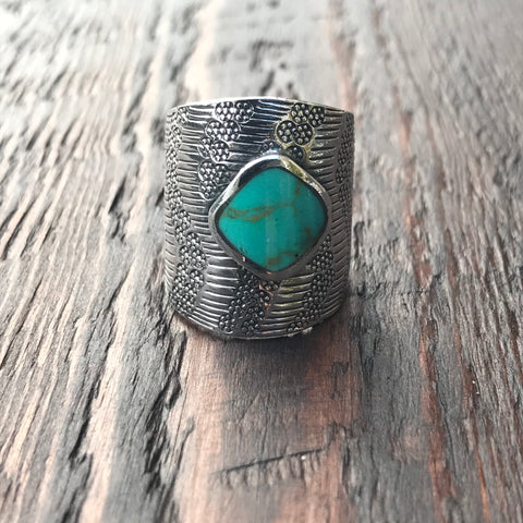 Mayan Sterling Silver & Green Turquoise Ring