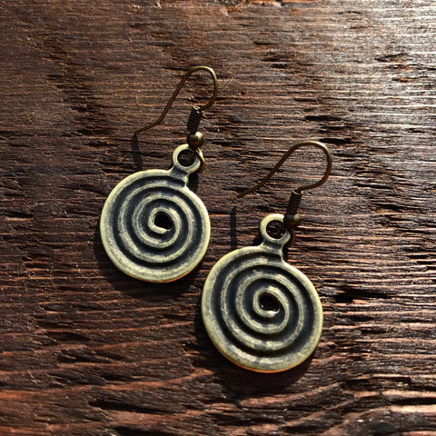 'Brass-Works' Medium Swirl Design Drop Earrings