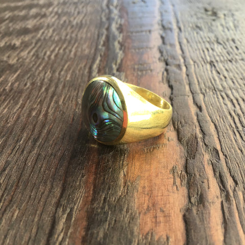 'Brass-Works' Handmade Abalone Shell Signet Ring
