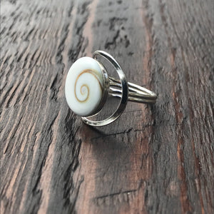 Shiva Shell Abstract Setting Sterling Silver Ring