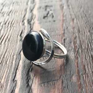 Black Abstract Setting Sterling Silver Ring