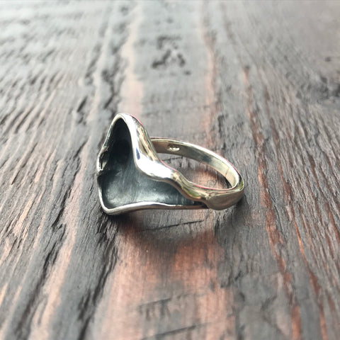 'Luna' Abstract Leaf Sterling Silver Ring