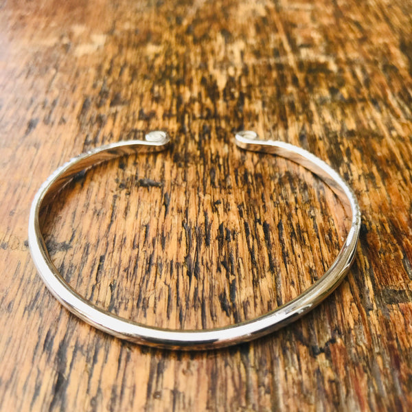 'Karron' Slim Etched Sterling Silver Cuff Bangle