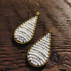 Handmade 'Brass-works' Teardrop Bead & Brass Drop Earrings - White