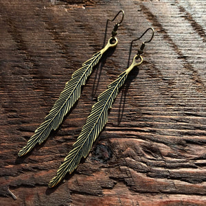 'Brass-Works' Long Thin Leaf Design Drop Earrings