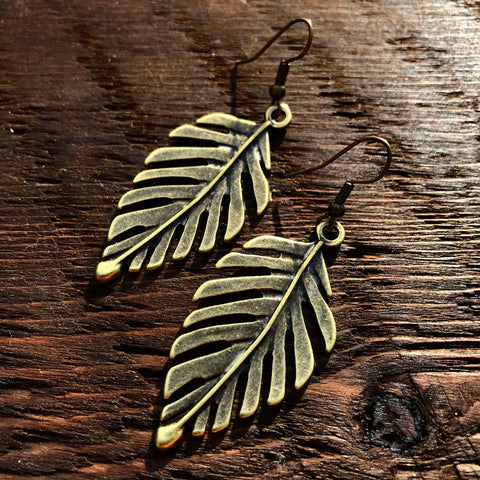 'Brass-Works' Leaf Design Drop Earrings