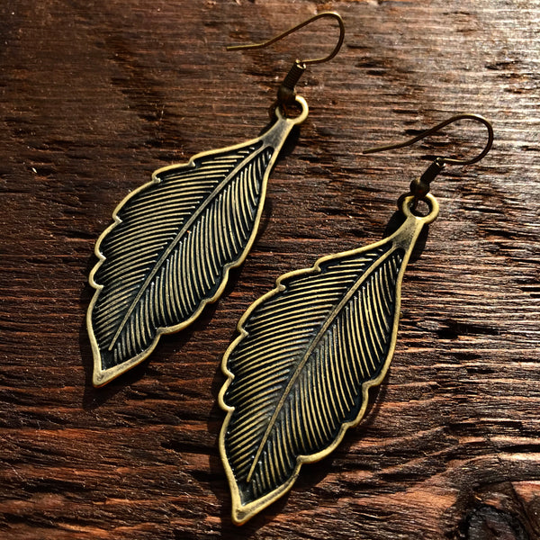 'Just Brass' Solid Leaf Design Drop Earrings