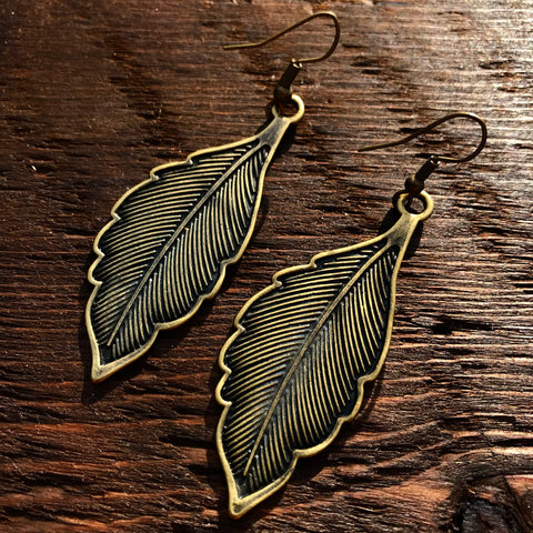 'Brass-Works' Solid Leaf Design Drop Earrings