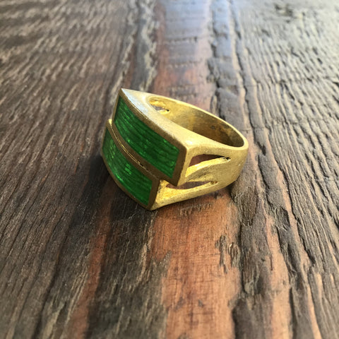 'Brass-Works' Handmade Green Enamel Rectangular Stacked Ring