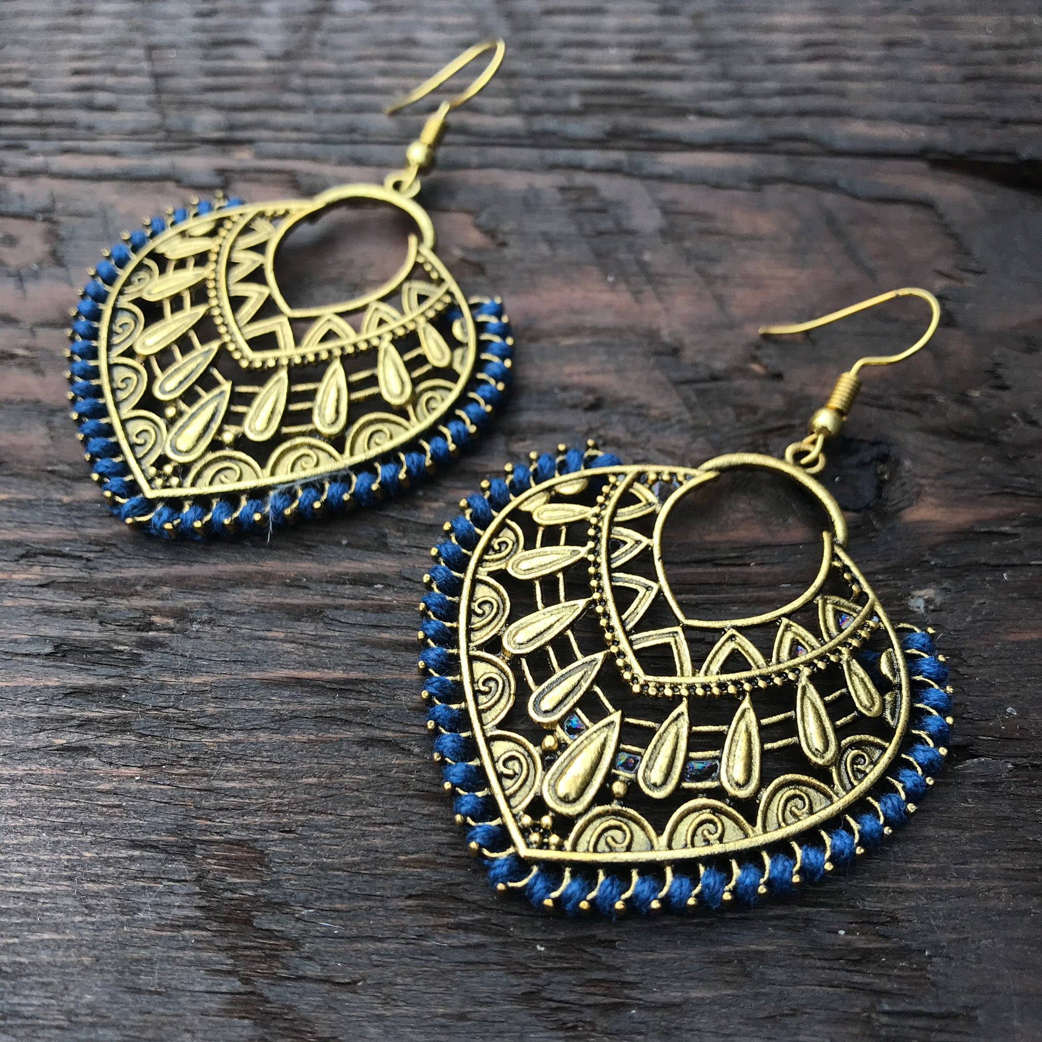 'Ethnic Vibes' Heart Shaped Ethnic Design Statement Earrings
