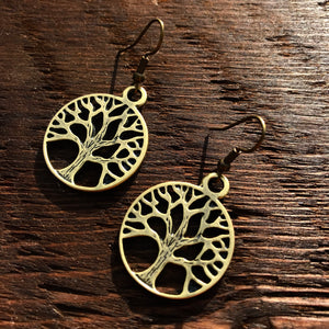 'Brass-Works' Medium Tree Of Life Drop Earrings
