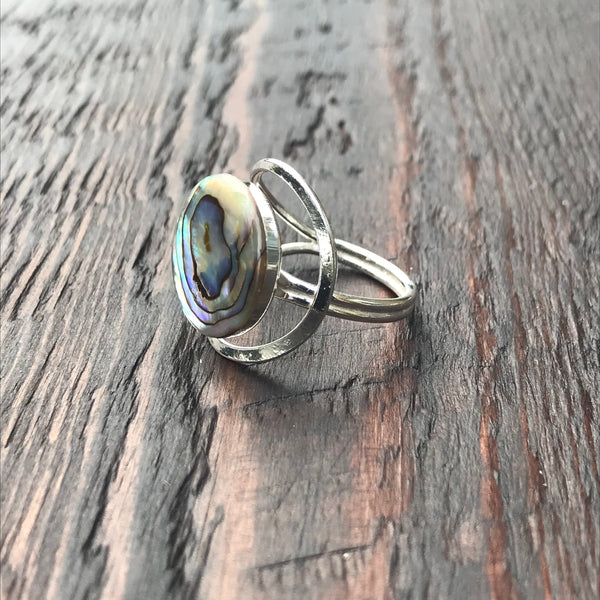 Abalone Shell Abstract Design Setting Sterling Silver Ring