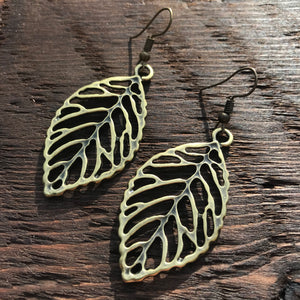 'Brass-Works' Outline Leaf Design Drop Earrings