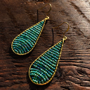 Handmade 'Brass-works' Teardrop Bead & Brass Drop Earrings - Green