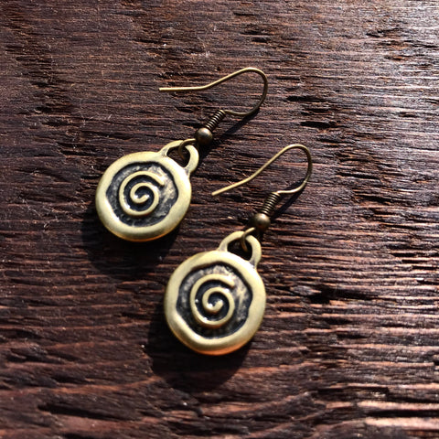 'Just Brass' Small Spiral Design Drop Earrings