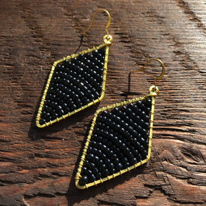 Handmade 'Brass-works' Diamond Shape Bead & Brass Drop Earrings - Black