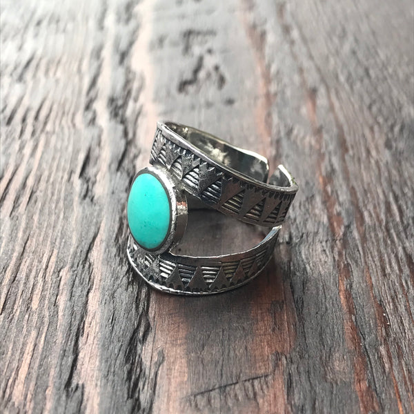 Mexica Sterling Silver & Green Turquoise Ring