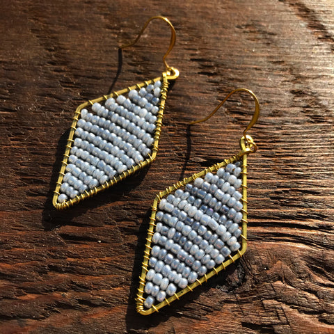 Handmade 'Brass-works' Diamond Shape Bead & Brass Drop Earrings - Silver/Grey