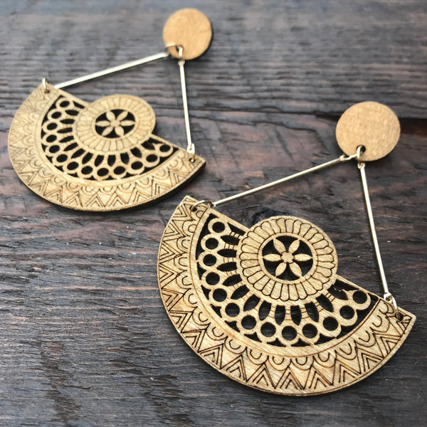 'El Bosque' Native American Cherokee Design Mandala Earrings (Brown)