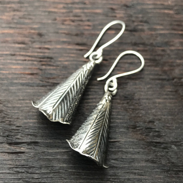 'Karen Hill Tribe' Bell Shaped Etched Design Sterling Silver Earrings