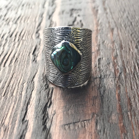 Mayan Sterling Silver & Abalone Shell Ring