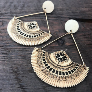 'El Bosque' Apache Native American Design Mandala Earrings (Natural)