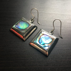 'White Isle' Abalone Square Drop Earrings