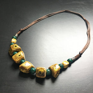 Ceramic Cube Necklace (Mustard)