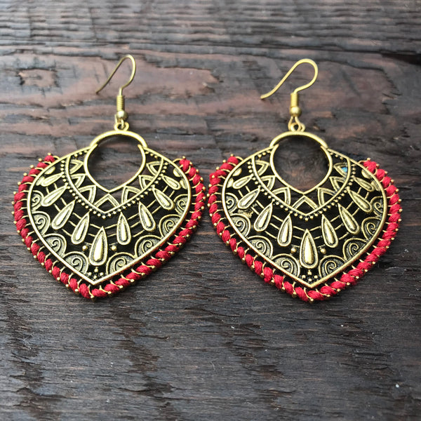 'Brass-Works' Pear Shaped Ethnic Style Statement Earrings (Red)