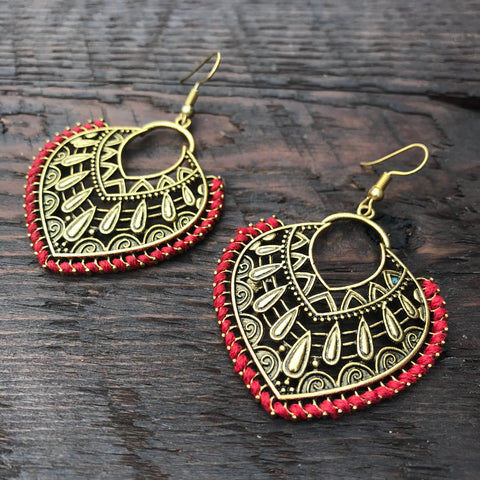 'Brass-Works' Heart Shaped Ethnic Design Statement Earrings