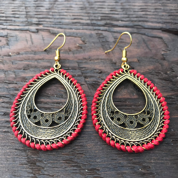 'Brass-Works' Pear Shaped Ethnic Design Statement Earrings