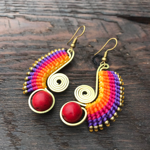 'Tri-Beca' Wing Design Handmade Macrame Earrings