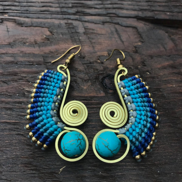 'Brass-Works' Wing Design Handmade Macrame Earrings