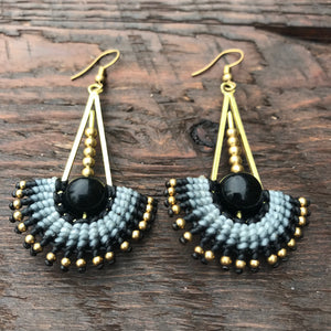 'Tri-Beca' Mandala Drop Design Handmade Macrame Earrings