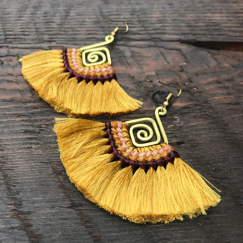 Handmade Tassel & Abstract Spiral Earrings