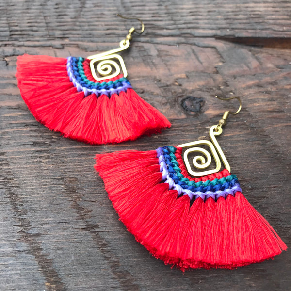 'Brass-Works' Handmade Tassel & Abstract Spiral Earrings