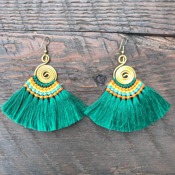 Handmade Tassel & Round Spiral Earrings