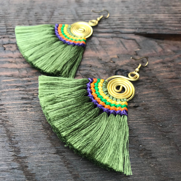 'Brass-Works' Handmade Tassel & Round Spiral Earrings