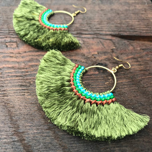 Handmade Tassel Fan Shape Earrings