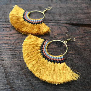 'Brass-Works' Handmade Tassel Fan Shape Earrings