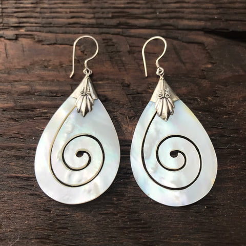 Pear Shaped Mother Of Pearl Spiral Design Drop Earrings