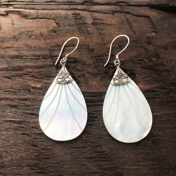 Pear shaped Mother Of Pearl Drop Earrings With Etched Design & 925 Sterling Silver Embellishment