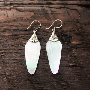 Elongated Mother Of Pearl Drop Earrings With 925 Sterling Silver Embellishment