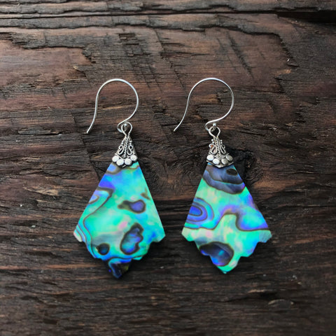 Scalloped Edge Abalone Shell Rhombus Shaped Drop Earrings With 925 Sterling Silver Embellishment