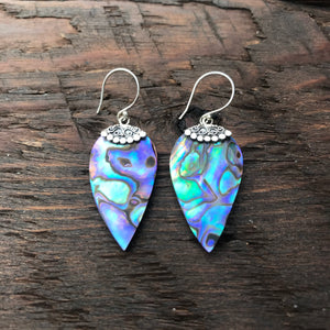 Abalone Drop Earrings With Ethnic Design 925 Sterling Silver Embellishment